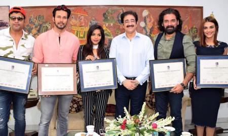 Team Of Feature Film Teri Bhabhi Hai Pagle At Marwah Studios For